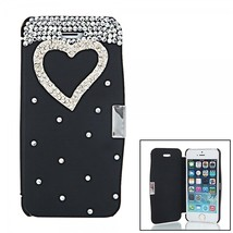 Heart Pattern Rhinestone Embellished Magnetic Clasp PU + PC Case for iPh... - $20.00