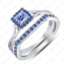 925 Silver Princess Blue Sapphire Bridal Engagement Wedding Ring Set - $73.09