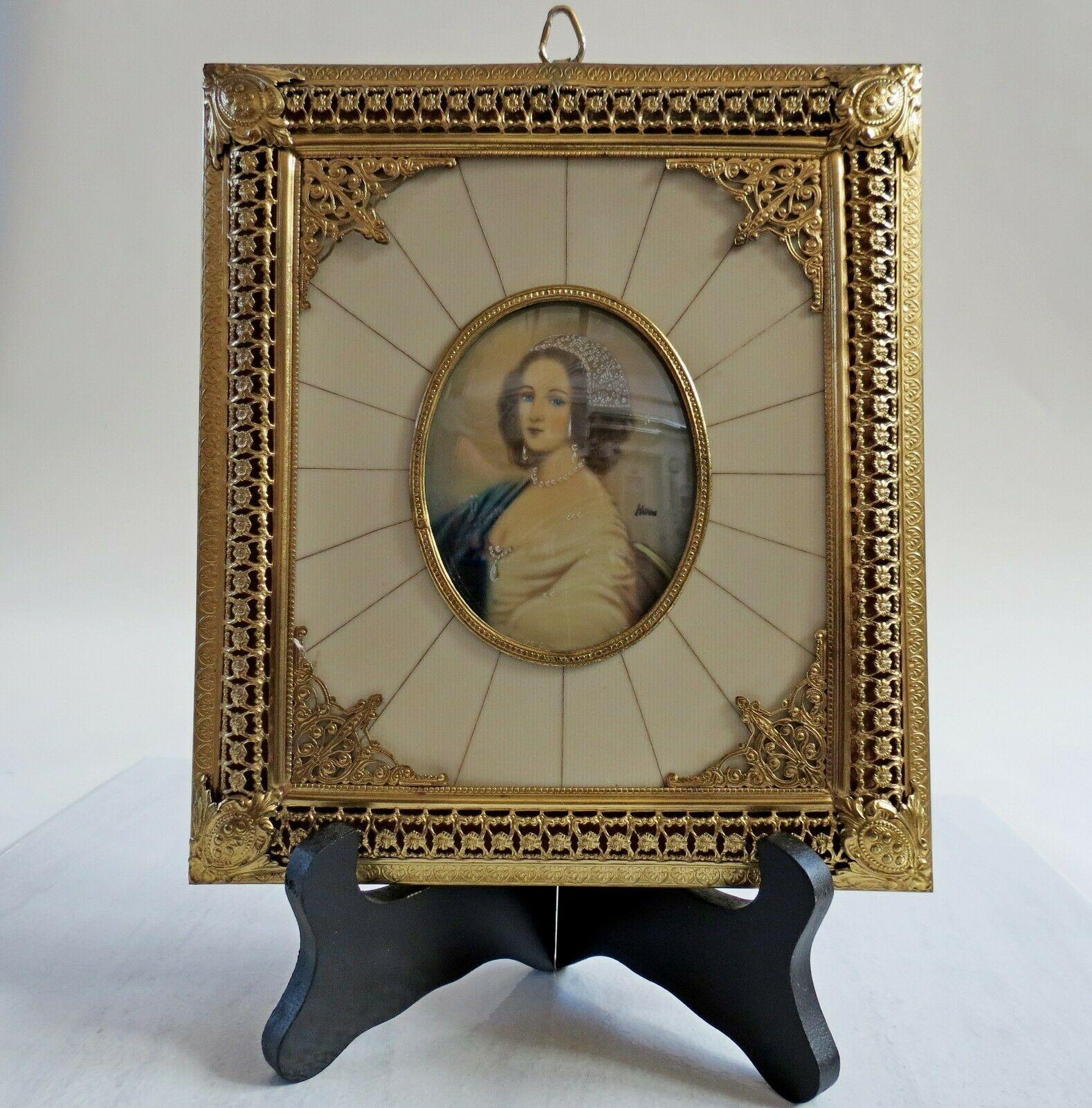Antique Hand Painted Gold Celuloid Frame Ormolu French 1800s Woman Mini Portrait