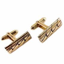 Woven Cufflinks Vintage Business Gold Tone Mens Cuff Links c133 - $11.99