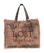 Mona B Lets Get Lost Together Weekender Bag, Recycled Canvas/Leather Red... - $69.95
