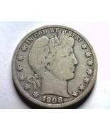 1908-D BARBER HALF DOLLAR VERY GOOD+ VG+ NICE O... - €31,76 EUR