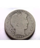 1905-S BARBER HALF DOLLAR ABOUT GOOD AG NICE OR... - $25.00
