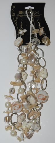 Howards Princess Style Pearl Like Beads Shell Necklace Earring Set Fish Hook