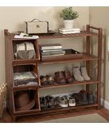 Wooden Shoe Cubby Holder Organizer Rack Storage... - $198.95