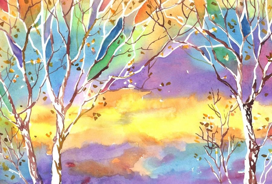 "Akimova: SUNSET, fall, winter, sky, approx. size 7""x10.5"""