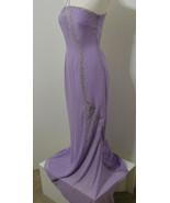 Glam Gurlz Lavender Asym Silver Bead Sequin Flared Super Model Length Go... - $134.99