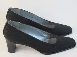 Stuart Weitzman Black Fabric and Leather Pumps Size 10 AA US Excellent C... - $27.67