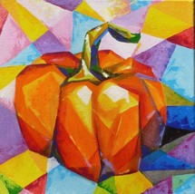 "Akimova: PUMPKIN, food, still life, acrylic, 12""x12"", Halloween - $35.00"