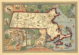 1930 Map POSTER landmarks roads major buildings Massachusetts 6864000 - $15.84