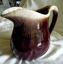 "McCoy Brown Drip 32 oz Pitcher approx 6"" Stoneware China #365 Marked - $18.76"