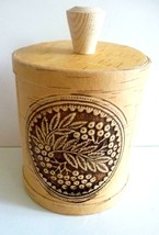 Handmade Wooden Birch Bark Container/Beautiful Detail - $16.78