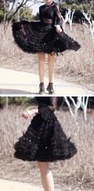 Black Knee Length Layered Tulle Skirt Plus Princess Tulle Skirt Holiday Outfit image 7