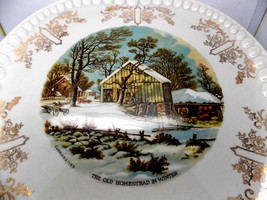 Vintage Gray-Lure by Crooksville USA/Currier & Ives The Old Homestead in... - $11.83