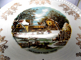 """Vintage Gray-Lure by Crooksville USA/Currier & Ives """"The Farmer's Home"""" ... - $11.83"""