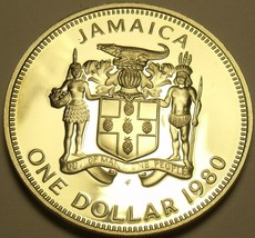 Large Rare Proof Jamaica 1980 Dollar~Only 2,688 Minted~Bustamante~Free S... - $24.10