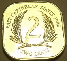 Rare Proof East Caribbean States 1986 2 Cents~Only 2,500 Minted~Free Shi... - $10.48