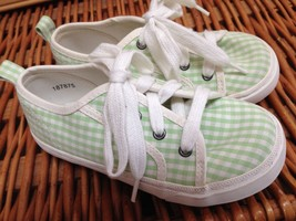 Classic KIDS GINGHAM SNEAKERS tennis shoe green 10 11 girls boys unisex ... - $19.22