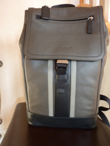 NWT COACH MENS HERITAGE LEATHER SPORT BACKPACK SLATE GREY/BLACK 71350 - $275.00