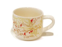 "Starbucks Coffee Mug ""Coffee Bean Abstract Floral Cream Red"" 10 Oz - $18.76"