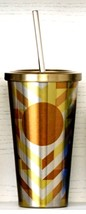 Starbucks Stainless Cold Cup Tumbler Gold Chevron /2014  - $32.62