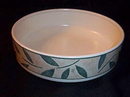 "MIKASA Nature's Song Serving Bowl Round Open 8.5"" Green Leaves Tan CAA06 NICE! - $18.79"