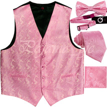 Light Pink XS-6XL Paisley Tuxedo Suit Dress Vest Waistcoat Necktie Bowtie Hanky - $27.70+