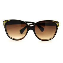 Gold Studded High Point Oversized Cat Eye Sunglasses - Brown - £5.64 GBP