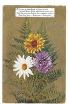 Motto Love Poem Flowers Daisy Mum Ferns Gold Moire Background Vintage Postcard - $4.99