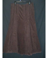 CAbi #729 Size 0  Corduroy Skirt Pleated A-line Brown Raw Edges - $32.37