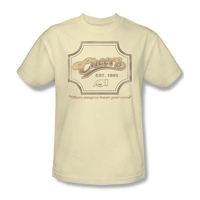 Cheers Sign T shirt 100 % cotton graphic tee Beige retro 80's TV Boston  CBS100