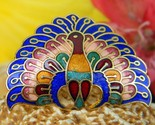 Peacock bird enamel cloisonne scarf clip ring slide colorful figural thumb155 crop