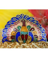 Peacock bird enamel cloisonne scarf clip ring slide colorful figural thumbtall