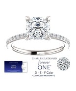 2.00 Carat Moissanite Forever One Cushion Ring in 14K Gold (Charles & Co... - $1,695.00