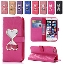 Heart Bling Glitter Lether Wallet Case Stand Cover for iPhone 5 SE 6 6S 7 7 Plus - $5.89+