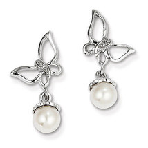 Sterling Silver Rhodium Plated Diamond & Freshwater Cultured Pearl Earrings - €55,80 EUR