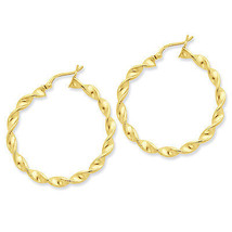 925 Sterling Silver Gold Plated Patterned Twisted 3mm x 35mm Hoop Earrings - $37.37