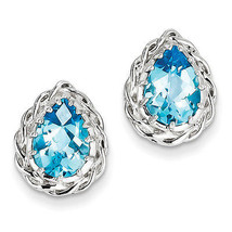 925 Sterling Silver Rhodium Plated Pear Blue Topaz Polished Post Earrings - €88,77 EUR