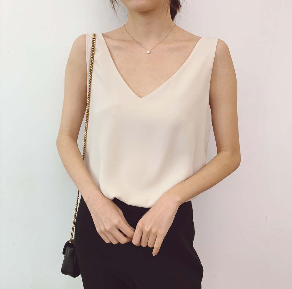 Light champagne chiffon top 2