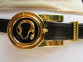 "Women Black Faux Leather Fashion Belt Gold Metal Cheetah Tiger Buckle 25"" 29""S/M - $13.71"