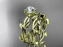 unique 14k yellow gold leaf and vine wedding set ADLR522S - $1,100.00