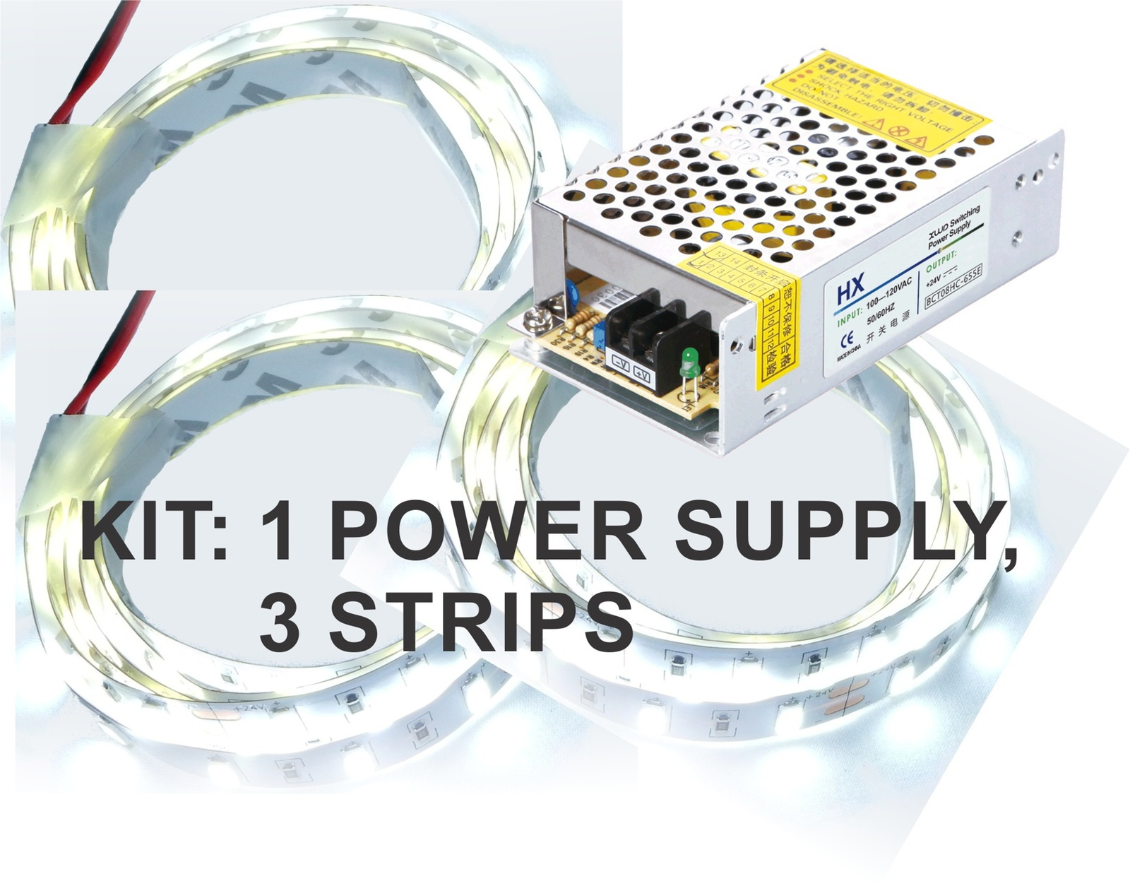Kit: 100W Power Supply+ 3x 4' LED Strips, Bright White, Hi-lumen