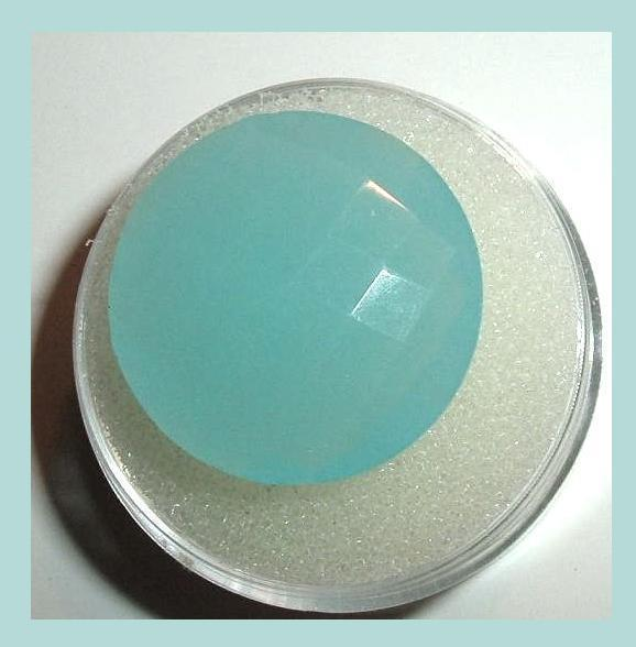14.90ct AQUA BLUE CHALCEDONY Round Checkerboard 20mm Faceted Natural Gemstone