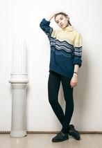 70s vintage blue wave turtleneck knit jumper - $38.30