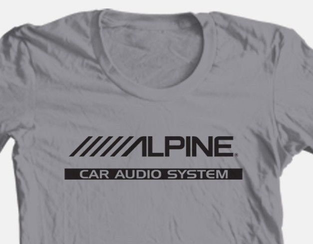 Alpine audio T-shirt car stereo auto speakers radio 100% cotton graphic grey tee