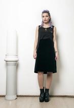 70s vintage black velvet high waisted midi skirt - $49.57