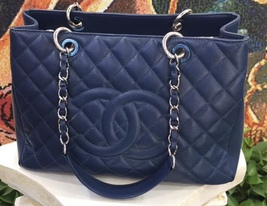 AUTHENTIC CHANEL QUILTED CAVIAR GST GRAND SHOPPING TOTE BAG BLUE SHW  image 7