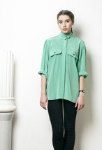 80s vintage mint green oversized kimono blouse - $31.54