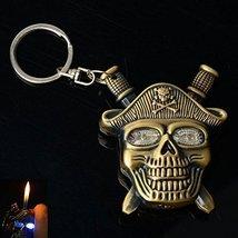 Bronze Skull Shaped Butane Gas Cigarette Lighter - Color May Vary