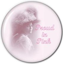 "PURSE MIRROR W/ ORGANZA BAG PINK HAT LADIES ART ""PROUD IN PINK"" 3 IN - $7.91"